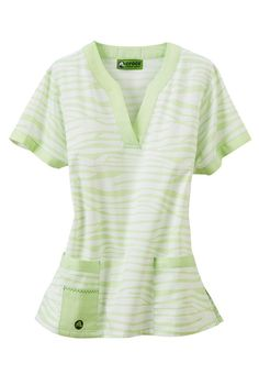 Crocs Zebra Pastel notched v-neck scrub top. - Scrubs and Beyond