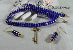 Blue and Gold Key Necklace Set - Creations Color Challenge | KraftyMax - Jewelry on ArtFire