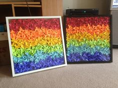 1000 Origami Cranes in a Shadowbox Rainbow Coloured