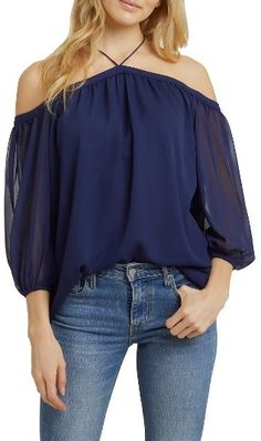 Women's 1.state Off The Shoulder Sheer Chiffon Blouse , blue, pattern, blue aesthetic, blue theme, royal blue, navy, blue things, blue theme, everything blue, fashion ( affiliate )