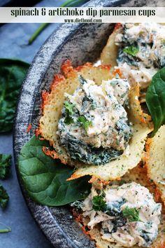 spinach + artichoke dip in parmesan cups