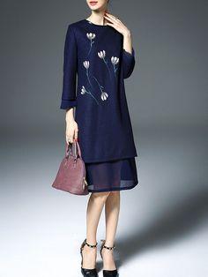 Printed Wool blend Midi Dress