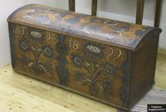 ** Norwegian Chest with Rosemaling, dated 1829.