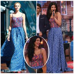 Shruti Haasan gave us two back to back floral looks for her upcoming promotions.  Her first look was a printed dress by designer Shilpa Reddy, from her New York collection.  It was a fabulous look which was style with minimum jewellery and beach style wavy locks.