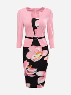 Product Name:Floral Printed Fake Two-Piece Bodycon Dress Sku:E9C4695B2977 Weight:326(g) Length:Knee-length Sleeve:Three-quarter Sleeve Material:Blend Pattern Type:Floral / Printed Occasion:Formal / Office Dress Silhouette:Fitted More Details:Belt Season:Autumn / Spring Package Included:Belt / 1 / Dress / 1