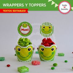 Sapo: wrappers y toppers para cupcakes