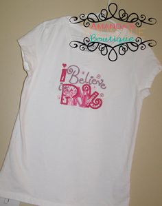 Believe In Pink Embroidered Shirt by AYBoutique on Etsy, $22.00