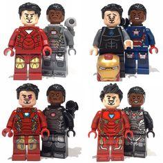 Tony Stark and James Rhodes ~ ~ ~ ~ ~ Lego Custom Minifigures, Lego Minifigs, Lego Ninjago, Legos, Lego Marvel Super Heroes, Marvel Avengers, Cartooning 4 Kids, Lego Spiderman, Lego Military
