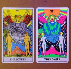 Psychedelic vs non psych. Lovers tarot card.