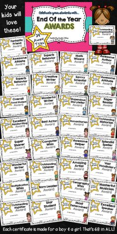 """End of the Year Award Certificates! 34 award titles, each made for a girl & a boy. That's 68 in all!  Each also comes in """"almost black and white"""" version."""
