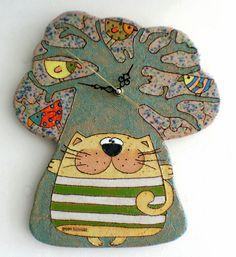 Handmade Ceramic Clock Pottery Cat clock Funny Cat by GappaPottery