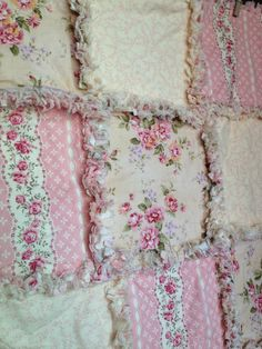 Baby girl pink and floral rag quilt by CandysPhotoProps on Etsy, $48.00
