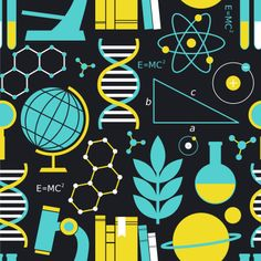 A creative wallpaper design to turn any feature wall into a statement wall called Science Symbols