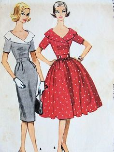 1950s Lovely Full or Slim Skirt Dress Pattern Wide Collar, Double Breasted EASY TO SEW McCalls 5251 Vintage Sewing Pattern Bust 31.5