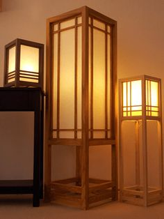 Japanese lamp made from maple or american walnut wood, and ricepaper, in shoji style. Handmade, size can be custom. Japan Room, Japanese Garden Landscape, Zen Interiors, Japanese Lamps, Japanese House, Japanese Style, Paper Stand, Minimalist Living, Walnut Wood