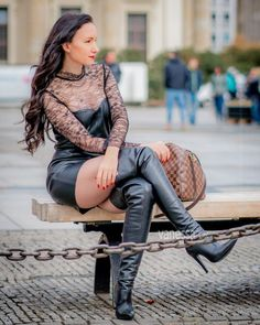 (AD) Boots, boots, boots - love to wear OTK boots in autumn/winter and these boots are one of my favourite pairs… - ready for the evening -… Leather High Heel Boots, Thigh High Boots Heels, Stiletto Boots, Leder Outfits, Leather Dresses, Sexy Boots, Women's Summer Fashion, Sexy Outfits, Latex