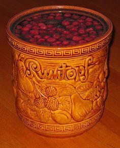 German Rumtopf or rumpot - fruit in rum, delicious after some months for dessert or in cakes - original german recipe