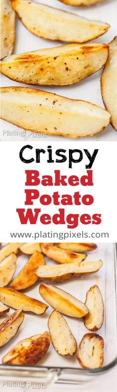 How to Bake Potato Wedges by Plating Pixels. Crispy and healthy side. Easy baked potato wedges, without frying in oil. Vegetarian, vegan and gluten-free. - www.patingpixels.com