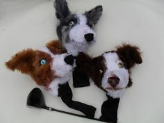 Custom Golf headcovers and puppets Felt Puppets, Golf Club Headcovers, Golf Club Covers, Golf Gifts, Golf Clubs, Cow, Sewing Patterns, Bags