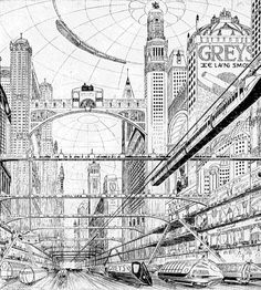 acidadebranca: Black & White Illustration | 3366 | source This vision of a future London comes to us courtesy of the Grey's Cigarette ...