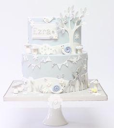 Cute pastel blue & grey winter woodland themed christening cake