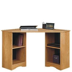 Bestow a distinctive rustic feel to any room in your home with the help of this SAUDER Beginnings Cinnamon Cherry Desk with Storage. Home Office Desks, Home Office Furniture, Online Furniture, Furniture Ideas, Small Corner Desk, Desks For Small Spaces, X 23, Corner Furniture, Oak Desk