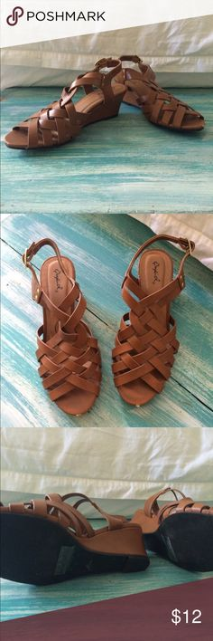 Qupid Gladiator Heeled Sandals Brand new, only worn once. In like new condition. Low heel and very comfortable to walk in Qupid Shoes Wedges