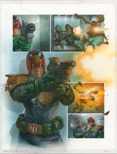 Judge Dredd by Greg Staples  Page from a upcoming 11-part Judge Dredd epic Dark Justice. Beginning end 2014 by artist Greg Staples and writer John Wagner