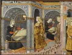 LE DEPART D'ULYSSE, E.CL.7501, panneau de Cassone Ecouen. Pénélope à son métier fait et défait la tapisserie commencée (détail).
