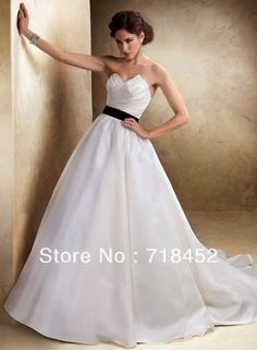 >> Click to Buy << In Stock Wedding Gowns White and Black US2 6 8...16 Size Ball Gown Organza off the Shoulder Free Shipping BN833 #Affiliate