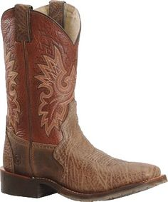 Mens Double H Chocolate ICE Wide Square Roper Cowboy Boot