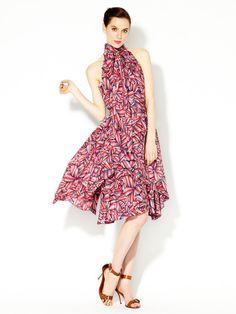 Marc by Marc Jacobs Arielle Bloom Draped Silk Halter Dress