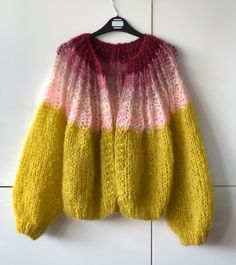 Hello yellow mohair cardigan 🍋 with a little 🍒 on top! Fair Isle Knitting, Baby Knitting, Knitting Designs, Knitting Patterns, Knit Fashion, Knitwear Fashion, Mohair Sweater, Cardigans For Women, Knit Crochet