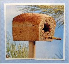 Stick a stale loaf of bread on an old mop or rake handle; shove a pencil in for a perch and watch the birds gather.