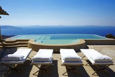 The Eagle's Nest is located hillside in a unique wind-sheltered position in the Fanari area, Mykonos, Greece. This amazing villa has one of the most beautiful views in Mykonos from you can admire magical sunsets. The property is spread over differen Beautiful Villas, Beautiful Places, The Eagles, Relax, Mykonos Greece, Mykonos Villas, To Infinity And Beyond, Luxury Villa, Outdoor Spaces