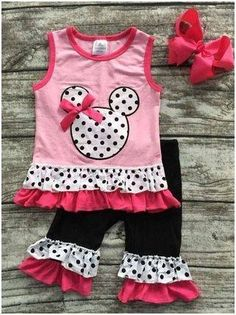 Light Pink Minnie Polka Dot Capri Set #boutique-outfits #clearance #daily-deal…