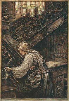 """September 6, 1939: Died, Arthur Rackham. The English artist was one of the foremost illustrators of the """"Golden Age"""" of British book illustration. This is a scene from """"The Frog Prince."""""""