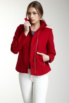 RED Large Collar Asymmetrical Zip Front Coat : Also in BLACK