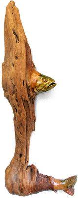 ORIGINAL WOOD SPIRIT CARVING BASS FISHING FISH RUSTIC CARVINGS OOAK NANCY TUTTLE