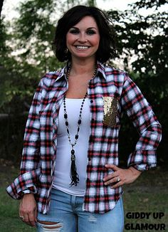What More Do You Need Red and Black Plaid Flannel Long Sleeve with Gold Sequin Pocket and Yoke www.gugonline.com