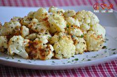 Garlic Parmesan Cauliflower Toss chopped up head of cauliflower w. 2 tsp garlic, 4 tbsp olive oil, salt/pepper, 1/2 cup parmesan. Spread on pan. Bake 25-30 min, turning every 10 min. Serves 4.