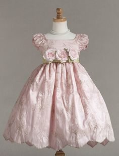 embroidered fabric flower girl's dress