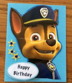 Birthday Card Paw Patrol Chase Sparkle Stars Badge Handmade  | eBay