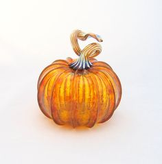 Blown glass pumpkin.  I love the curly stem!