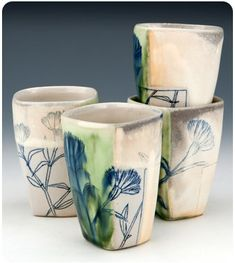 Flower inlay cups, Julia Galloway