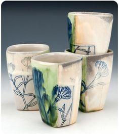 Flower inlay cups, Julia Galloway