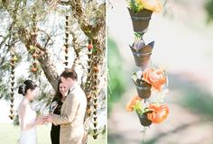 Rain Chains as wedding ceremony backdrop