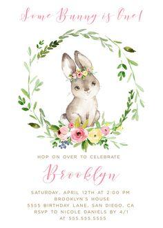 Bunny Birthday Party, Girl, Bunny invitations, Spring Birthday party, First Birthday Edit & Print today!
