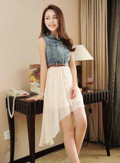 Blanco Negro albaricoque Nueva Moda Hermoso estilo coreano vestido Conjunto de Split