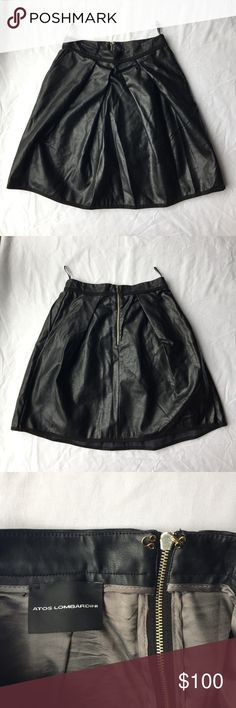 ' Atos Lombardini ' Genuine Leather Skirt An absolutely amazing piece I'm bummed to part with but is just too big for me now- made in Italy this is an ' Atos Lombardini ' genuine heavy leather black skirt with pockets  Condition : perfect used / no flaws  ~Size is unlisted but I would guess a small- and I'll take any measurements upon request :)  (I snagged this when I was a teen at an itty bitty boutique somewhere in Burgundy, then wore them -along with a Lazy Oaf cat bodysuit- on the train…